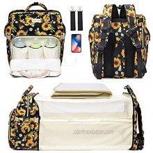 Diaper Bag Backpack with Porable Bassinet Bed Sunflower Diaper Bag for Newborn Essentials Baby Travel Back Pack with Chaning Station Pad Stroller Straps Built-in USB Charging Port & Net Sunshade