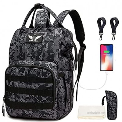 Diaper Bag Backpack with USB Charging Port Stroller Straps and Insulated Pocket Tactical Advantage Travel Baby Bag Nappy Backpack for Dad Boy Mom Girl Toddler Black Camo by Qwreoia