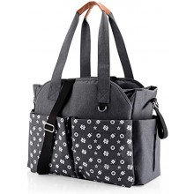 Diaper Tote Bag Large Travel Baby Bags for Mom & Dad with Insulated Pockets Wipes Pocket Waterproof Material Stroller Straps Shoulder Strap Grey