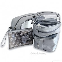 Gingko Baby Supa Tough Diaper Bag Organizing Pouches Set of 5 Premium Quality Clear Organizer Inserts Versatile Wipe Clean Baby Packing Cubes Nursery and Travel Organization Silver Grey