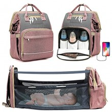 KOVEBBLE Diaper Bag Backpack with Changing Station Foldable Baby Backpack Diaper Bags for Baby Boy Girl Mom Dad,Men Women 3 in 1 Mommy Bag with USB Charging Port for Travel Picnic Hospital Pink