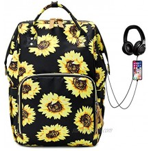 Laptop Backpack Water Resistant College School Backpack with USB Charging Port Travel Backpack Casual Daypacks for Women Girls Sunflower
