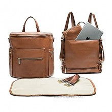 Leather Diaper Bag Backpack by Miss Fong Baby Registry Search,Backpack Diaper Bag with Changing Pad,Wipes Pouch,Diaper Bag Organizer,Stroller Straps and Insulated Pockets Brown Convertible