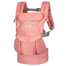 Labi Premium Cotton Baby Carrier with Adjustable Bucket Seat Ergonomic All Position Baby Backpack with Tuck Away Hood One of The Most Comfortable Baby Carrier Wrap for Infant & Toddler Pink