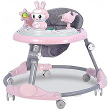 ROLENUNE Infant Baby Walker Foldable Activity Walker Helper with Adjustable Height Baby Activity with Wheels Sit to Stand Walker with Back Padded Kid Plate Center Seat Play Toys 6-18 Months Pink