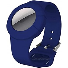 Kids Bracelet Case for AirTag 2021,Silicone Watchband Airtag Protective Cover for Kids Toddler Baby Children Elders,Anti-Lost Wearable Holder Fits Airtag. Dark Blue
