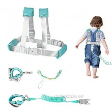 YUSONG Kids Safety Harness Leash 2 in 1 Toddler Anti Lost Wrist Link and Vest Harness with Child Lock Child leashes Leash for Toddlers Green 4.9 ft Length