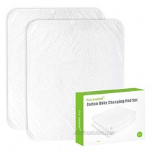 """ECO inspired Cotton Baby Changing Pad Diaper Changing Pad Splashproof Changing Pad Liners Ultra Soft Breathable Washable Reusable Large Size 35.5""""x27.5"""" White 2 PCS"""
