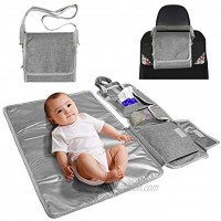 Entyle Portable Changing Pad Baby Diaper Bag for Newborn Boy Girl Lightweight Foldable Travel Mat Station Waterproof Travel Changing Station Bag Kit with Wipes PocketGrey