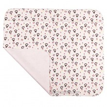 Large Waterproof Flannel Diaper Changing Mat Pad,31.5 X 26.5 Inch Pink Monkey Cotton Flannel