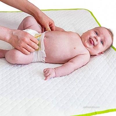 """Portable Changing Pad Biggest Reusable Changing Mat 25.5""""x31.5""""- Comfortable Diaper Change Mat White Color Reinforced Seams Free Multi-Function Storage Bag"""