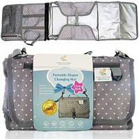 Rhythm Star Baby Diaper Clutch Bag and Changing Pad Portable Travel Mat with Removable Pack Pockets Support Pillow Shoulder Strap Registry Baby Shower Gray and White Carrier 43 x 22 Inch