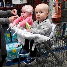 Twins Double Shopping Cart Covers fits Regular and Warehouse Large Child Grocery Basket Seats with Optional 2 or 4 Leg Holes Ditto Kiddo by Oopsababy