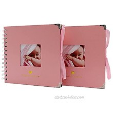 HXRTANGS Scrapbook Baby Album 6.9 x 6.9 Inch Pack of 2 DIY Hardcover 40 Pages Photo Album with Scrapbook Kits Baby Shower Wedding Guest Book Birthday Gifts for Girls Pink