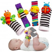 Baby Wrist Rattle Foot Finder Socks Set,Cotton and Plush Stuffed Infant Toys,Birthday Holiday Birth Present for Newborn Boy Girl 0 3 4 6 7 8 9 12 18 Months Kids Toddler,4 Cute Animals Four color