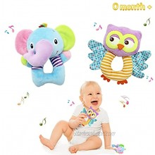 Bloobloomax Baby Car Seat Toys Infant Soft Plush Rattle Cute Animal Doll,Early Development Hanging Stroller Toys for Newborn Boys Girls Gifts 2 PCS