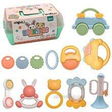 Magic4U Baby Rattle Teething Toys for Babies 0-6-12 Months 12 PCS Infant Toys Soft Teethers with Storage Box Early Educational Toys Gifts for Newborn Baby Boy Girl 3 6 9 12 Months