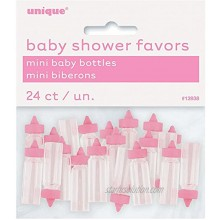 Mini Plastic Pink Baby Bottle Girl Baby Shower Favor Charms 24ct