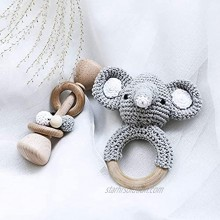 Promise Babe Classic Bundle Wooden Baby Rattle Toys Crochet Elephant Pattern Wood Rattle Ring Newborn Baby Gift Rattles 2PC Set