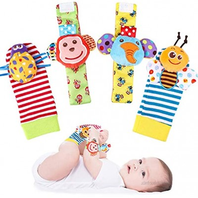 Tinabless Baby Wrist Rattle Foot Finder Socks Set for Christmas Stocking Stuffers X-mas Gifts for Kids Cute Animal Soft Baby Socks Toys Set 4 pcs
