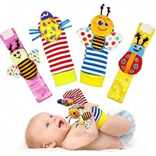TSICY Soft Baby Socks Toys Wrist Rattle and Foot Finder scocks Set,Infant Toys Hand Arm Rattle Ring,Feet Ankle Wear for Newborn Baby Boys Girls Toys 0-3 3-6 Months Bee Bugs 4pcs