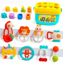 UNIH Baby Toys Rattles Set Grab and Spin Rattles Infant Grasping Grab Toys Spin Shaking Bell Musical Toy Set Early Educational Toys with Storage Box for Toddler Newborn Baby 3 6 9 12 Month