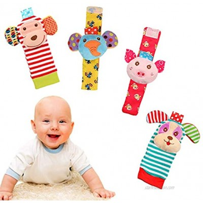 WANTMAZOR Soft Baby Wrist Rattle Foot Finder Socks Arms Legs Rattle Cotton and Plush Stuffed Infant Toys,Birthday Holiday Birth Present for Newborn Boy Girl 0 3 4 6 7 8 9 12 18 Months Kids Toddler