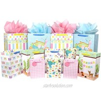 12 Pcs Baby Gift Bags Large Medium and Small Gift Bags Assortment for Baby Shower Birthday Parties Baby Girl and Baby Boy Assorted Sizes