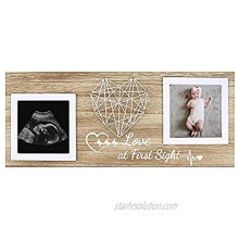 Baby's First Sonogram Frame,Sonogram Ultrasound Frame for Two Scan Photo Keepsake Frame Gift for Pregnant Mom to be Love At First Sign