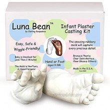 Luna Bean Baby Keepsake Hand Casting Kit Plaster Hand Mold Casting Kit for Infant Hand & Foot Mold Baby Casting Kit for First Birthday Christmas & Newborn Gifts Clear Sealant Gloss