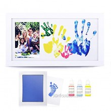 NWK DIY Family Photo + Family Hand Footprints Kit with 10 X 17inch Elegant White Wood Picture Frame Ink Pad Non-Toxic Watercolor Paints Father's day Gift 2021