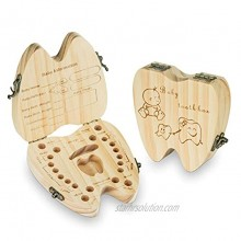 Baby Teeth Keepsake Box Tooth Fairy Holder Wooden First Lost Deciduous Tooth Collection Organizer Storage for Kids MemoryBoy