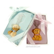 Firefly Imports Baby Shower Party Favor Polyresin Baby Teddy Bear Key Chain Light Blue