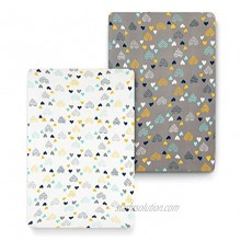 COSMOPLUS Stretch Fitted Pack n Play Playard Sheets 2 Pack for Mini Crib Sheet Set,Pack n Play Mattress Cover Ultra Stretchy Soft,Heart Pattern