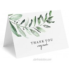 Bliss Collections Thank You Cards 25 Greenery Cards with Envelopes 4 x 6 Uncoated Heavyweight Card Stock for Weddings Receptions Bridal Showers Baby Showers Graduations Special Events