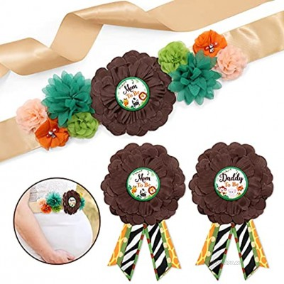 Safari Jungle Animals Maternity Sash Mom to Be Daddy to Be Corsage Set Jungle Safari Sash and Pins for Baby Shower Gender Reveal Keepsake Photo Props Pregnancy Flower Belly Belt