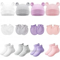 4 Sets Newborn Baby Hat and Mittens Toddler Beanie Cap Non Slip Socks for 0-6 Months