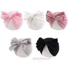Baby Girl Turban Hat 5 Pieces Cotton Infant Girls Headwraps Toddler Hats 0-3 T
