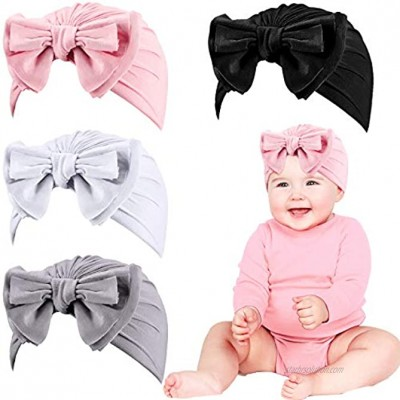 Geyoga Baby Girl Turban Hat Newborn Infant Toddler Kid Knotted Beanie Headband with Bow