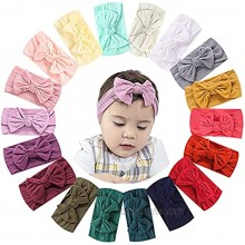 18PCS Nylon Headbands for Baby Girls Hairband and Hair Bows for Girls Knotted Turban Headwrap for Newborn Infant Toddlers Hair Accessories