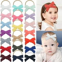DeD 20 Pieces Baby Nylon Headbands Hair Bows Stretches Hairbands Hair Accessories for Newborn Infant Toddler Kids