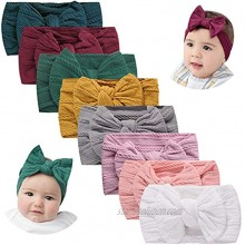 Nylon Headbands for Baby Girls Hair Bows for Kids Stretchy Hairbands Set Knotted Baby Turban Headband Hair Accessories for Newborn Infant Toddlers 8PCS