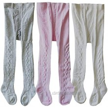 Baby Girls' Breathable Cotton Pantyhose Seamless Socks Cable-Knit Tights for Toddlers Little Girls