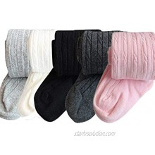 Whyme Pack of 5 Baby Tights 2-10T Toddler Little Girls Cotton Cable Knit Legging Stocking Pants Pantyhose