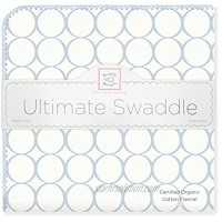SwaddleDesigns Organic Ultimate Winter Swaddle X-Large Receiving Blanket Made in USA Premium Cotton Flannel Pastel Blue Mod Circles Mom's Choice Award Winner