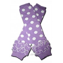 PURPLE WITH WHITE POLKADOTS RUFFLE DOTS Baby Leggings Leggies Leg Warmers for Cloth Diapers Little Girls & Boys & ONE SIZE by BubuBibi