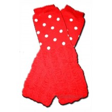 RED POLKADOTS WITH RUFFLES Baby Leggings Leggies Leg Warmers for Cloth Diapers GIRLS & ONE SIZE by BubuBibi