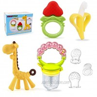 Baby Teething Toys & Baby Food Feeders Set 3pcs BPA Free Teethers Toys for Babies 3-6 Months 6-12 Months Freezer Teether Toys 1pcs Fruit Feeder Pacifier 3 Sizes Silicone Sacs Baby Gifts