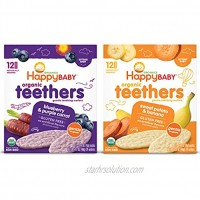 Happy Baby Organics Teether Variety Pack Blueberry & Purple Carrot Sweet Potato & Banana 12 Count Pack of 2