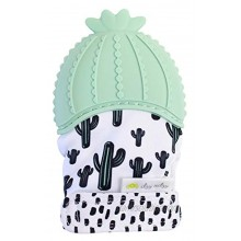 Itzy Ritzy Silicone Teething Mitt – Soothing Infant Teething Mitten with Adjustable Strap Crinkle Sound and Textured Silicone to Soothe Sore and Swollen Gums Cactus